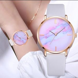 Accessories - Watercolor Cotton Candy Marble Quartz Watch